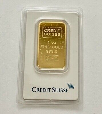 1 Oz Credit Suisse 999.9 Gold Bar Bullion #708377 With Assay Certificate