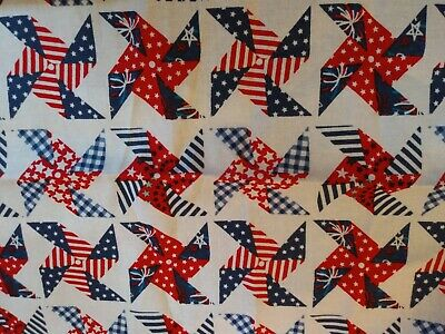 Red White Blue Patriotic Pinwheels on White 100% Cotton Fabric Scrap Quilt Sew