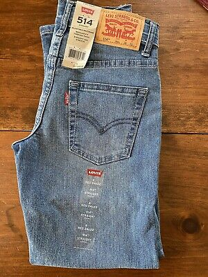 New w/ Tags LEVI'S 514 Straight Leg Stretch Reg. Fit Boy's Size 8 Jeans W24, L22