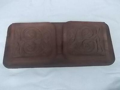 437/ 1900s EXTENDABLE HAND CARVED MAHOGANY ARTS & CRAFTS CELTIC DESIGN BOOK RACK