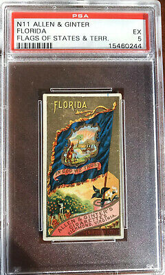 1888 N11 Allen & Ginter Flags Of States & Territories FLORIDA PSA 5 EX