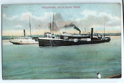 1909 steamer freighters on St. Clair River, Michigan; postcard ships