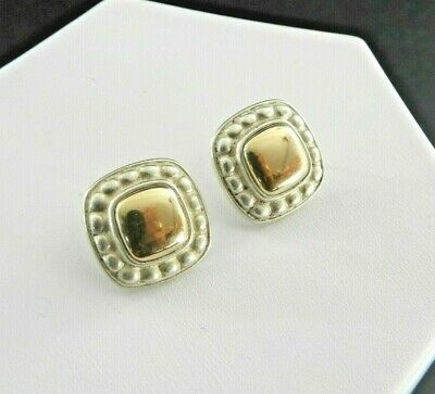 James Avery Retired Earrings Solid 925 Sterling Silver 14K Yellow Gold Beaded