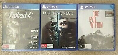 New Fallout 4 & Dishonored 2 & The Evil Within Playstation 4 PS4 Games Bundle