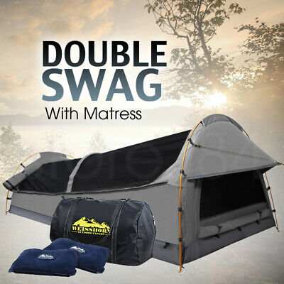 Double Swag Tent GREY Large Camping Swags Soft Foam Mattress & 2 Pillows