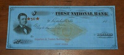 1800's Bank Check from THE STATE of INDIANA-Great Graphics-Low Price