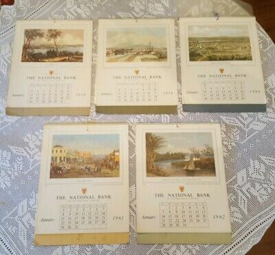 National Bank Calendars 1958 to 1962  - 5 Calendars Complete
