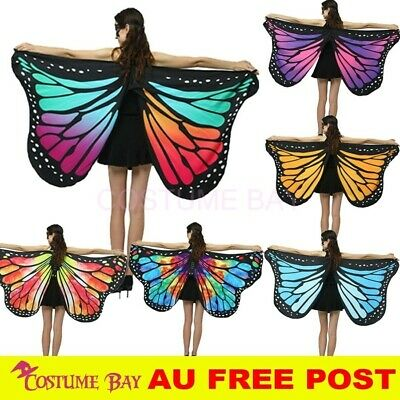 Woman's Soft Fabric Multicolour Butterfly Wings Cape Scarf Wrap Printing Shawl