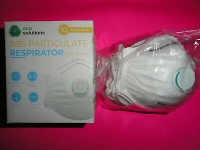 ☣️😷👍✅ Eco Solutions 10 Face Mask N95 Particulate Respirator Exhalation Valve