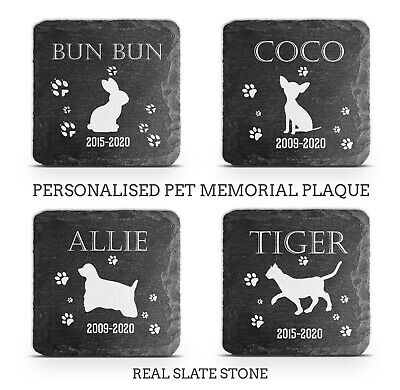 Pet Memorial Plaque Cat Dog Pig Slate Stone Paw Print Grave Marker Personalised