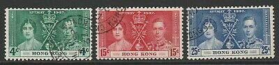 Hong Kong 1937 Coronation set SG 137-139 Fine used.