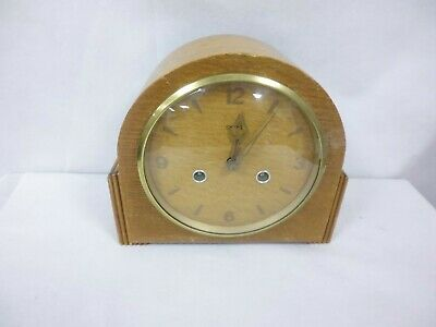 Antique Smiths Large Wooden Mantel Clock - Not Working Key Missing   (Cha)