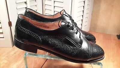 Mens Vito Rufolo Size10.5M Cap Toe Brogue Oxford Dress Shoes Black Leather Italy