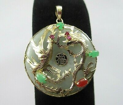 14CT 585 GOLD BY QVC JADE RUBY, RED, APPLE JADE CHINESE DRAGON PENDANT (10.2g)