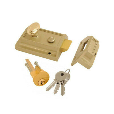 PERRY FRONT DOOR LOCK 60mm CYLINDER RIM NIGHT LATCH + 2 KEYS & ALL FIXINGS