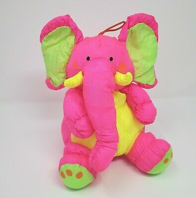 "9"" Vintage Stuffins Nylon Pink Yellow Elephant Stuffed Animal Plush Toy Squeaks"