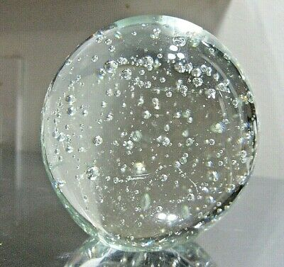 """3.5"""" Round Clear Bubble Art Solid Glass Globe Ball Paperweight Sphere (A)"""