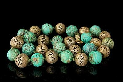 Old Chinese Carved Turquoise Shou Beads Silver Filigree Beads Necklace D123-03