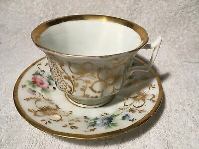 Antique Bone China Cup And Saucer Duo