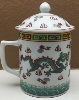 Chinese Teacup Cup Lidded Dragon China Porcelain Lidded Mug Handpainted