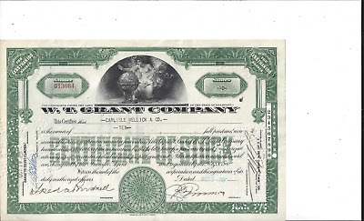 Grant Company Stock Certificate W Early 25 Cent Store T