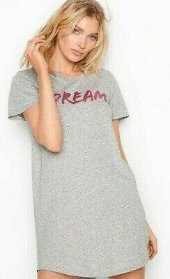 Victorias Secret Dream Sleep Shirt Tee Pajama Top Nightie Perfume Gray Pink Nwt