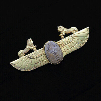 Antique Archaeological Egyptian Revival Brooch Scarab Sphynx 18k Gold (6841)