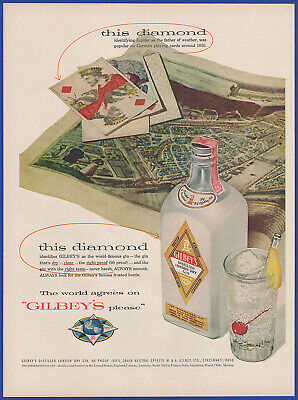 Vintage 1955 GILBEY'S Distilled London Dry Gin Alcohol Liquor 50's Print Ad