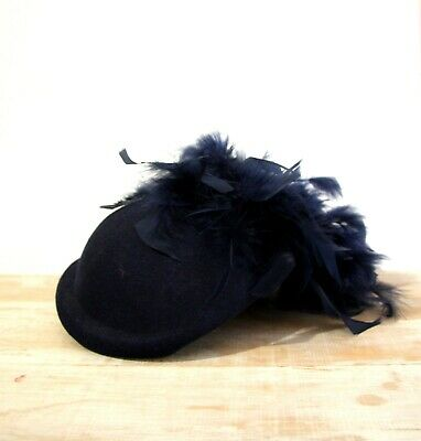 Navy Blue Feather Hat Felt 1950s pinup Pillbox Sculpted Fascinator Races royal