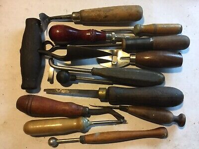 Leather working 13 carving tools, chisels, awls, other_________________A-27