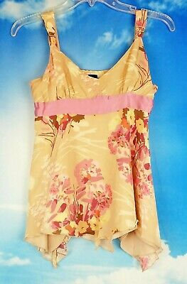 GAP Womans BEIGE with PINK Print and Empire Waist Ribbon Side Zip LINED size 6