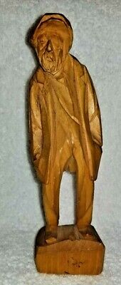 Wood Hand Carved Old Man by Paul Emile Caron St Jean Port Joli Quebec Canada 7""