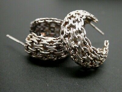 Vintage Modernist Woven Chain Style Ornate Small Sterling Silver Hoop Earrings