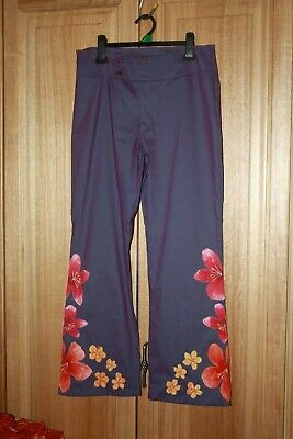 Westco Awesome Ladies Vintage Made In Aust Flower Front Stretch Pants. Sz : 14.