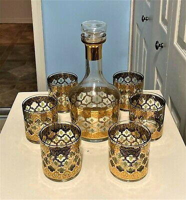 Rare / Vintage Culver Glass Mcm Valencia 22K Gold And Green Diamond Decanter Set
