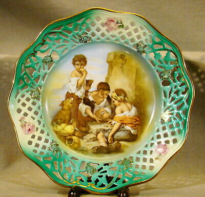 "Bavarian Porcelain Portrait Plate Boys Playing 8 1/2"" dia Reticulated Rim Cico"