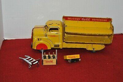 1950's MARX COCA COLA TRUCK WITH CASES and DOLLY