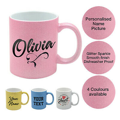 VALENTINES DAY GIFT Custom Personalised Name Text Printed Glitter Tea Coffee MUG