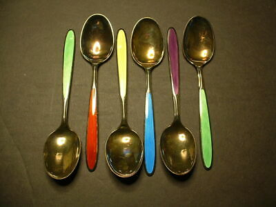 6-Th. Marthinsen Sterling Silver Enamel Teaspoons! Different Colors! Beautiful!