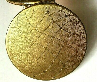 Vintage Stratton Classic Star Design Powder Compact England Gold Tone Clean