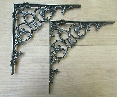 PAIR OF THORN cast iron rustic shelf support wall brackets