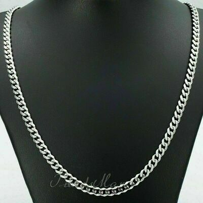 """20 """"36"""" stainless steel Silver tone Cuban Men's Curb Chain 3/5/7/9mm necklace"""