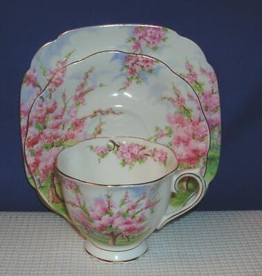 Lovely BLOSSOM TIME *TRIO* Footed Tea Cup & Saucer & Plate ROYAL ALBERT EUC