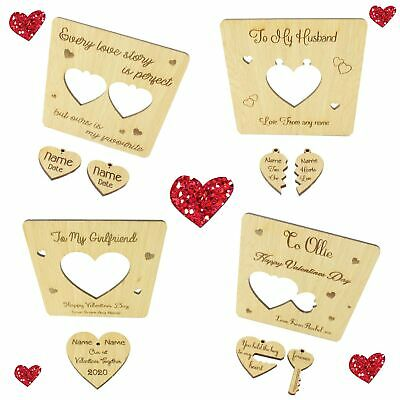 Oak Veneer Personalised Valentines Card Wooden Plaque with Pop Out Keyring Gift