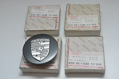 4 x New Genuine Unique Porsche 76mm Black Metal Alloy Wheel Centre Caps - RARE !