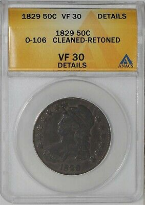 1829 Capped Bust Half 50c O-108 R.5 VF30 Details ANACS 937828-58