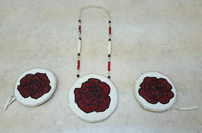Nice Cut Beaded Rose Design Native American Indian Hairties And Rosette Necklace