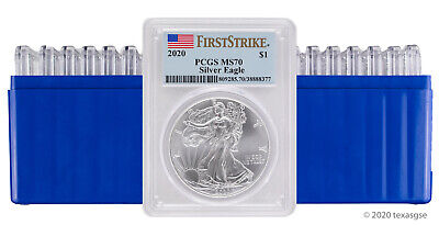 2020 $1 American Silver Eagle PCGS MS70 FS - Lot of 20 - IN STOCK-READY TO SHIP