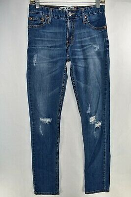 Levi's 510 Mens Jeans Stretch Super Skinny Size 30x32 Distressed Meas 28x32 Blue