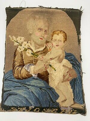 Antique Fine Needlepoint Sampler Saint Joseph Infant Jesus Early 1800s